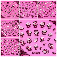 Butterfly Rose Flower Heart Bow Rhinestone Wedding 3D Art Nail Stickers Decal