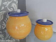 COPPIA BARATTOLI CONTENITORI in ceramica ARANCIONE E BLU