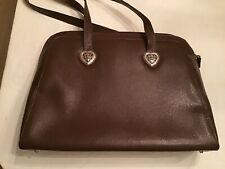 Coldwater Creek Brown Pebbled Faux Leather Laptop Organizer Tote Shoulder Bag