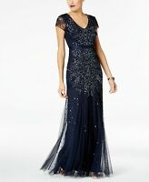 Adrianna Papell Midnight Blue Cap-Sleeve Beaded Embellished Gown NWT Size 8 10