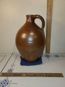 Antique Half Gallon Brown Glazed Ovoid Stoneware Jug excellent condition !!!