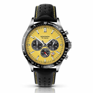 Sekonda Chronograph Quartz Yellow Dial Leather Strap Mens Watch 1395.00 RRP £89
