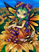 Jasmine Becket-Griffith art print SIGNED Sitting on a Sunflower flower fairy pop