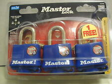 Master Lock - 3 Keyed Alike Padlocks - Weather Proof Cover - Model 312 TRI
