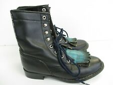 Coasters Western Lace Up Boots Womens Black Green Fringe Size 6