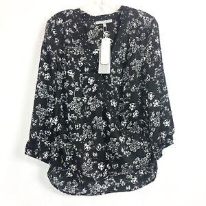 Stitch Fix Daniel Rainn Womens Medium Blouse Black Floral Surah Surplice  NWT