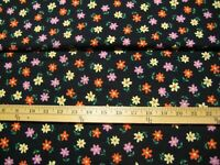 """54"""" wide 3 Yards  SCHWARTZ LIEBMAN  flowers on black background quilter fabric"""