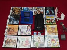 Blue Nintendo DS Bundle Lot / 15 Games / Carry Case / Car & AC Charger Tested