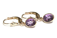 9ct Gold Amethyst LeverBack Earrings Gift Boxed
