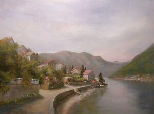 Montenegro 9x12 original oil painting Celene Farris. Village mountain lake scene