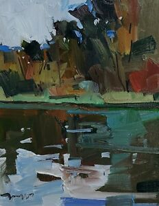 JOSE TRUJILLO Oil Painting IMPRESSIONISM RIVER LANDSCAPE COLLECTIBLE ARTIST NR