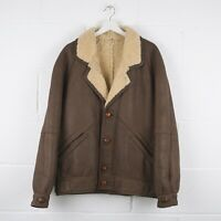 Vintage Brown Aviator Sherpa Flight Leather Jacket Size Mens XL XLarge /R43096