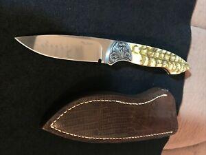 RON GASTON CUSTOM D.P. HUNTER KNIFE ENGRAVED SHEEP HORN- SHEATH-LOVELESS DESIGN
