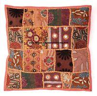 Indien Coton Lourd Broderie Sari Patchwork Fermeture Housse Coussin 40.6cm