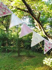 Guirlande de fanions Pique-nique Anniversaire Baby Shower Enfant 3m10 Rose blanc