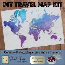 DIY Vibrant Violet World Push Pin Travel Map Kit