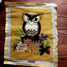 Vtg Needlepoint Owl Wall Hanging Art 1970s Decor Mcm Boho Hippie