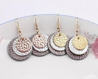 New Three Layered Round Disc Genuine Leather Earrings for Women Boutique Jewelry