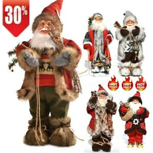 30cm Santa Claus Standing Doll Christmas Toy Gift Party Home Xmas Decor