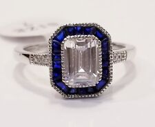 925 SILVER 2 CARAT TW EMERALD CZ & CREATED SAPPHIRE HALO ENGAGEMENT RING SZ 7