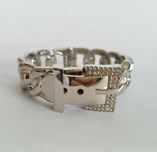 Silver Plated Buckle Hinge Frozen Chain Bracelet with Pave Accents