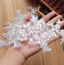 A Pair Floral Corded Wedding Motif Bridal Lace Applique Ivory Lace DIY Applique