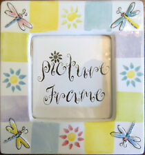 Ceramic Picture Frame Block Colors, Dragonfly, Sun, Neutral Colors FREE SHIPPING