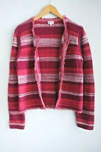 Brora Scotland Fringe Trim Multicoloured Cotton Boxy Cardigan Jacket sz 16