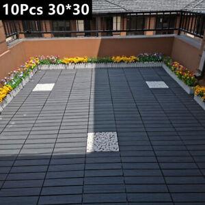 10X WPC Tiles Garden Outdoor Decking Boards ANTI SLIP Waterproof Patio Flooring