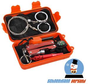 Survival Kit 7in1 Notfall Self Help Box Set mit Klappmesser Zange Taschenlampe