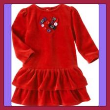 NWT 3T gymboree WINTER PENGUIN red Velour long sleeve Ruffle Tiered DRESS button