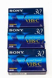 Sony Premium Grade VHS-C TC-30VHG Camcorder Tapes SP 30 EP 90 Lot of 3
