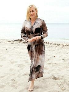"$1130 Marina Rinaldi by MAX MARA ""DARSENA"" SILK Wrap Dress** US 16"