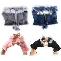 Ladies Womens Winter Gloves Faux Suede Fur Trim Fingerless Lined Gloves Mittens