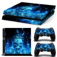 Blue Skull Fire - PS4 PlayStation 4 Skin Decal Sticker Consle Controllers Cover