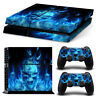 Blue Fire SKULL Sticker Decal Skin for Playstation 4  PS4 Console&Controllers