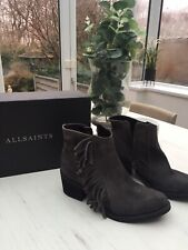 All Saints Women Grey Suede Bonny Cuban Heel Ankle Boots size 38