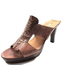 New Paul Green Brown Leather Open Toe Slip On Sandals Women's Size 8 M*