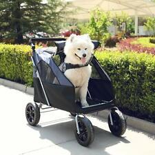 Foldable Pet Jogging Stroller Cat Dog Travel Carrier W/Big Wheels For Large Dog