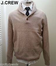 New J.CREW sweater shawl neck collar lambswool wool beige cream oatmeal tan nr S