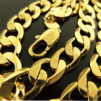 "Mens Gold Necklace Chain Real 18k Yellow G/F Solid Heavy Curb Bling Link 24""60cm"