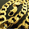 "Mens Gold Necklace Chain Real 18k Yellow GF Solid Heavy Bling Curb Link 22"" 55cm"