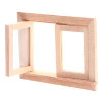1/12 Dollhouse Miniature Wood 2 Pane Window Frame DIY Furniture  Accessory -J0