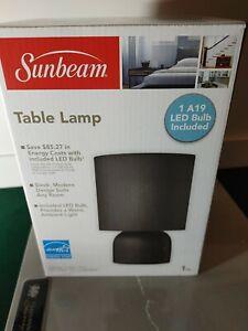 New Sunbeam Modern Black Table Lamp with Energy Saving LED Bulb Included!