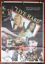 "Live Hard (Simon Yam Tat-Wah) 40x27"" Org. Lebanese Movie Poster 80s"