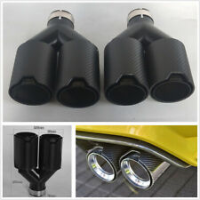 Left+Right Y Style Full Matte Real Carbon Fiber Autos Exhaust Dual Pipe End Tips