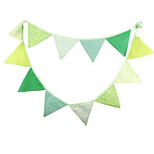 3.3M Green Handmade Vintage Rustic Cotton Fabric Flag Bunting  -12 flags