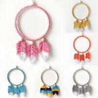Crochet Macrame Feather Wood Beads Dream Catcher Wall Hanging Nursery Art Decor