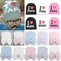 Infant Kids Boys Girls Knit Warm Bow Hat Newborn Comfy Stretchy Soft Beanie Caps