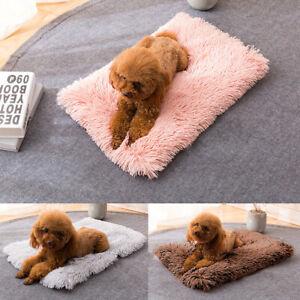 Dog Bed Crate Pad Mat Fleece Kennel Pet Cat Puppy Mattress Washable Long Plush